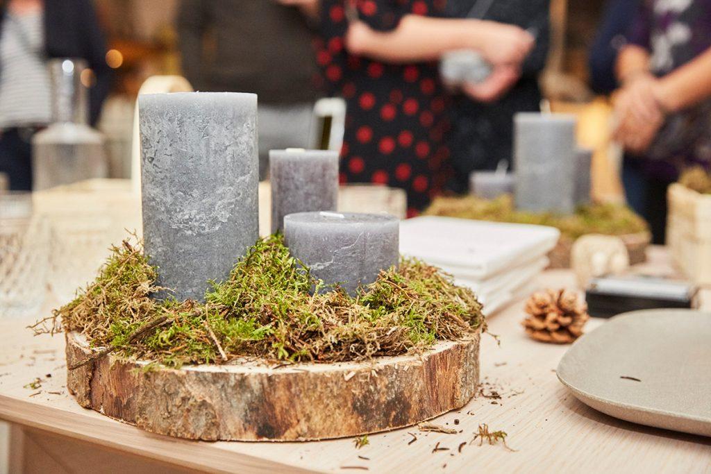 Herbliche Deko aus Holz und Moos zum Basteln