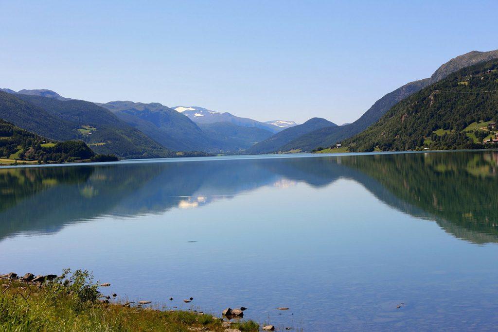 Norwegen, Sommer, Gruen, Blau, See, Gudbrandsdalen