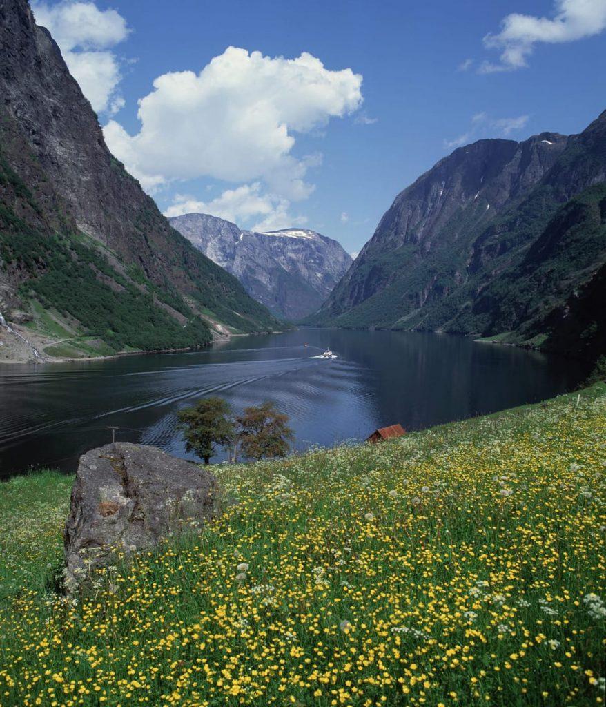 Der Nærøyfjord in Fjord Norwegen im Frühling.