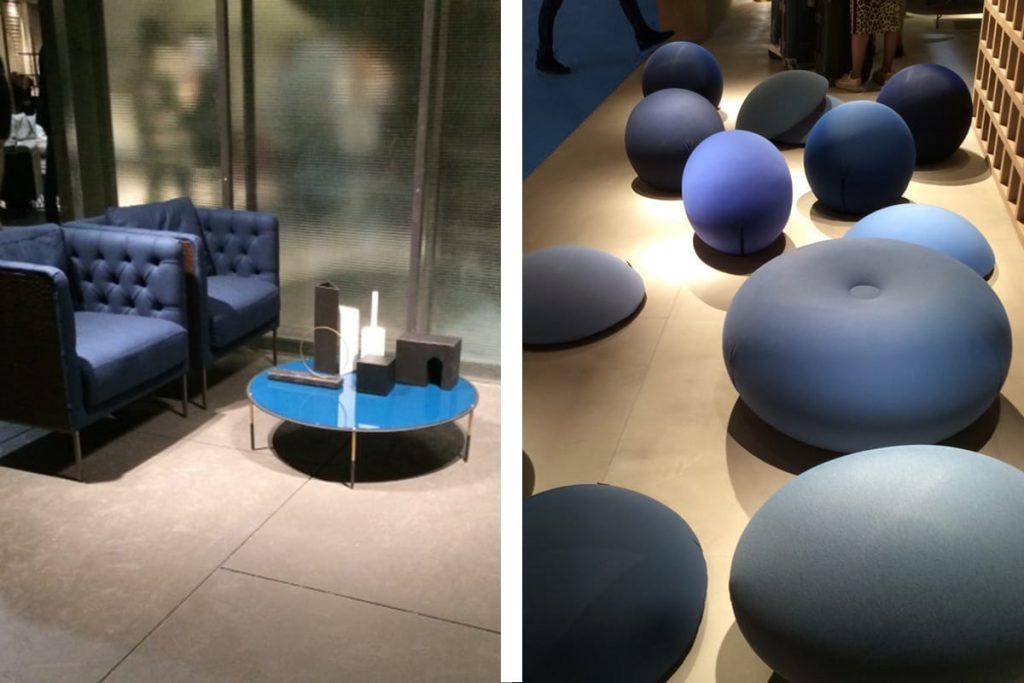 Am häufigsten war in diesem Jahr auf der Mailänder Möbelmesse die Farbe Blau vertreten.