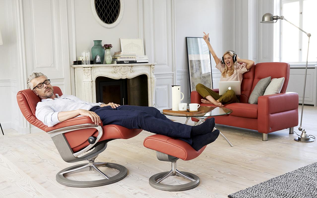 stressless sessel wave holzton grau henna entspannung. Black Bedroom Furniture Sets. Home Design Ideas