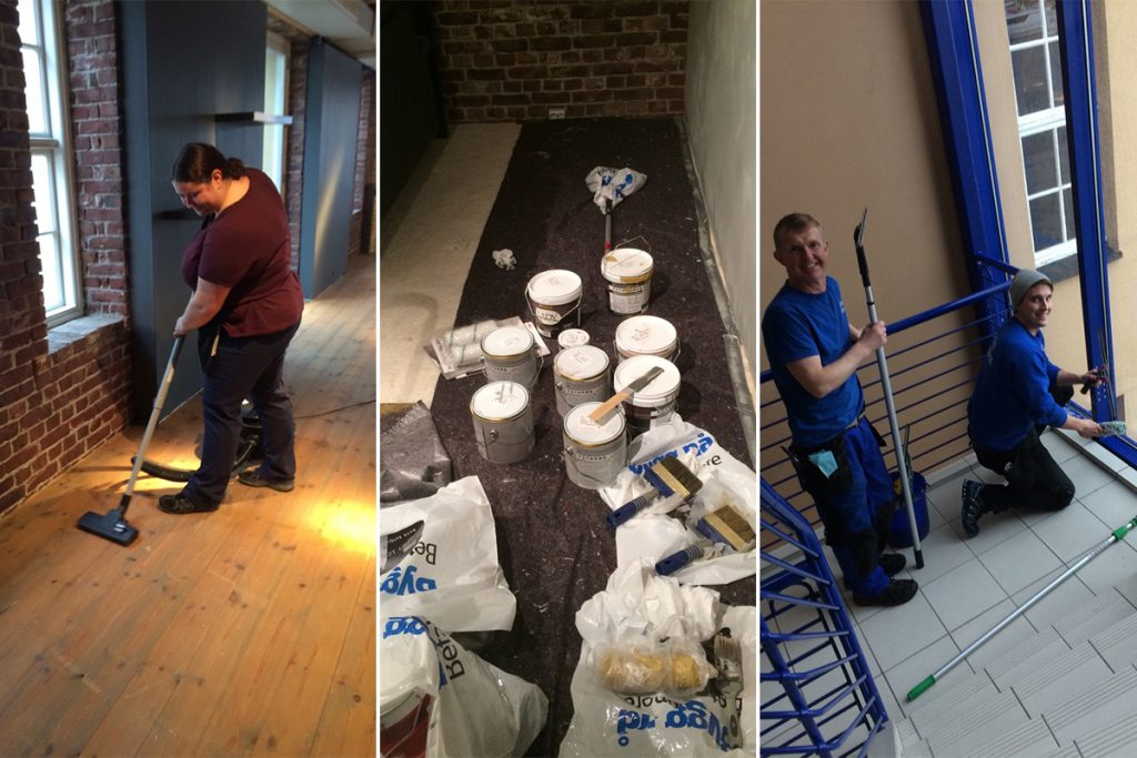 Viele Mitarbeiter tragen zur Neugestaltung des Ausstellungsraums Ekornes Bua bei.