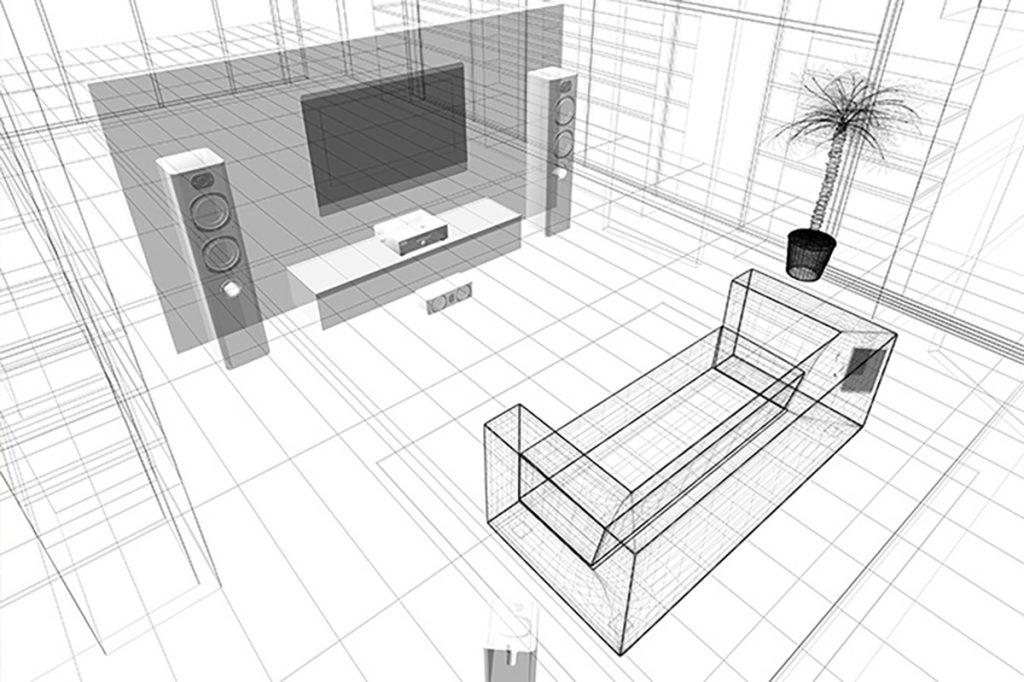 Die Möbel sollten beim Heimkino einrichten im richtigen Abstand vom Fernseher positioniert werden.
