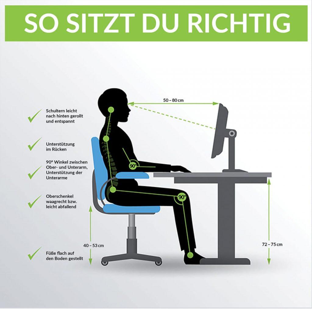 Die richtige Körperhaltung ist insbesondere bei der Arbeit am Schreibtisch wichtig.