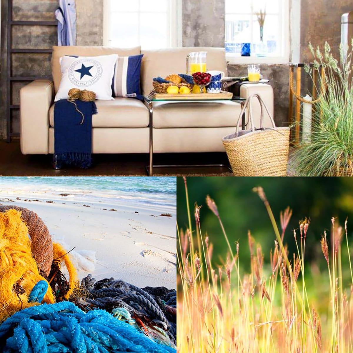 Zu Farbkombinationen in Blautönen passt im Sommer Gelb wunderbar als Farbakzent.