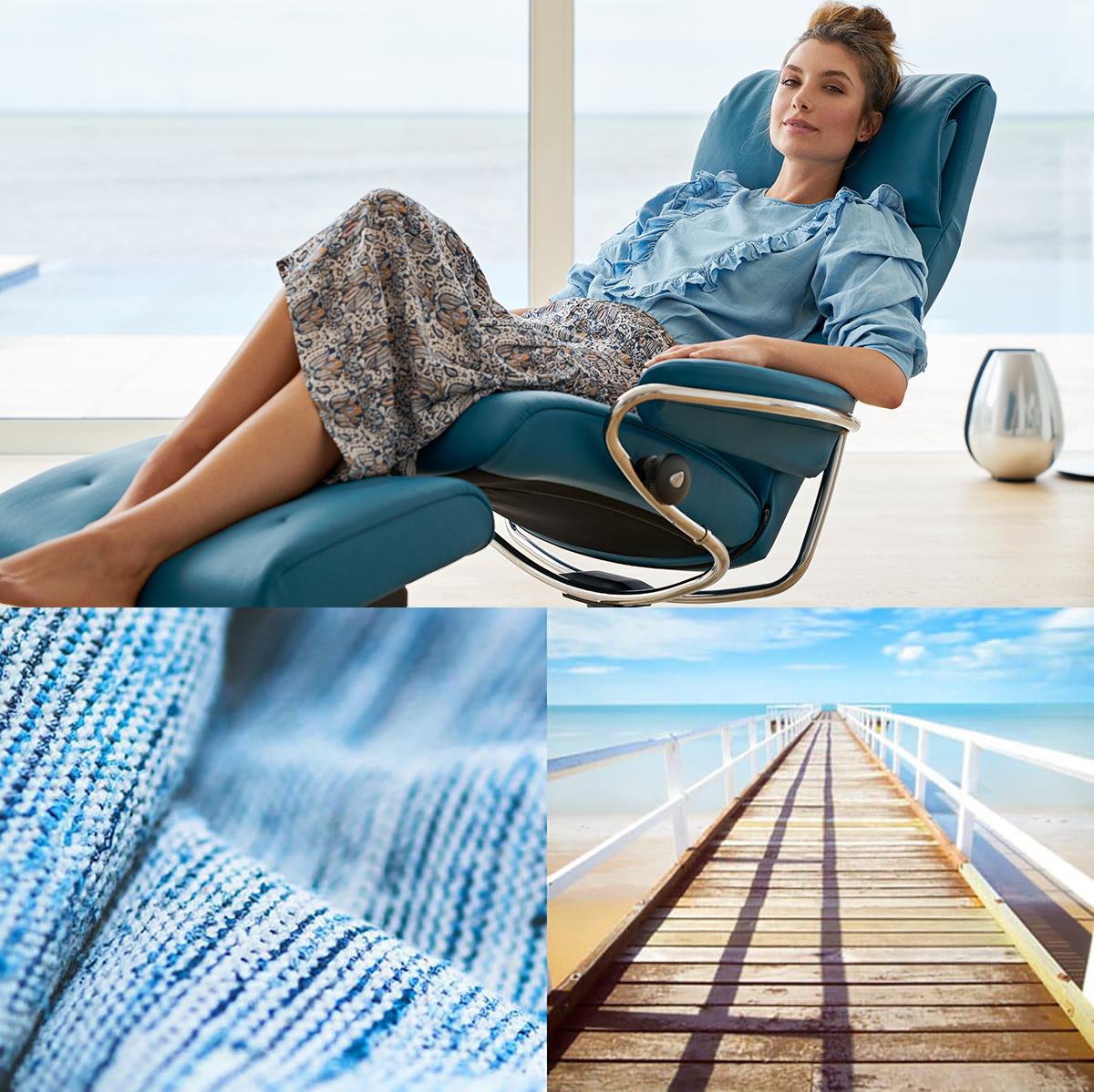 Frische Farbkombinationen in Blautönen sorgen nicht nur im Sommer für Ruhe und Entspannung.