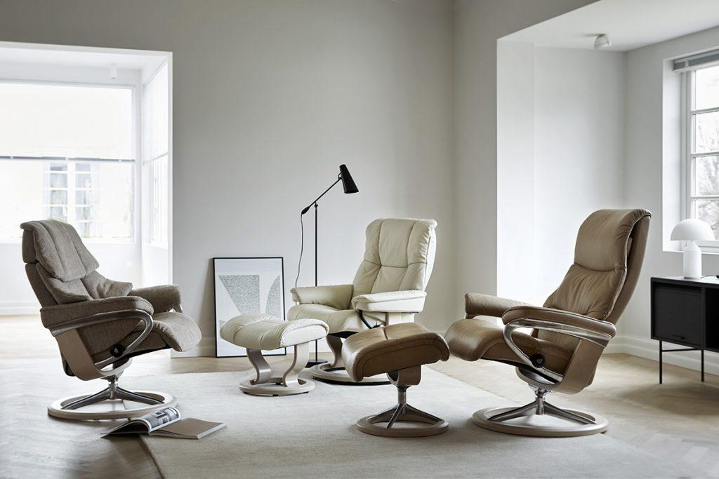 Auch die Stressless Sesselmodelle Reno, Mayfair und View überzeugen durch ihren perfekten Komfort.